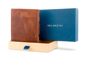 Garzini RFID Leather Magic Wallet Card Sleeves Brushed-Brown