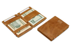 Garzini RFID Leather Magic Wallet Card Sleeves Brushed - Cognac - 6