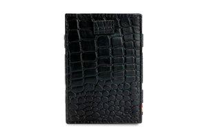 Garzini RFID Leather Magic Wallet Card Sleeves Croco-Black