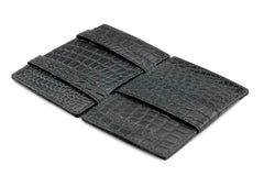 Garzini RFID Leather Magic Wallet Card Sleeves Croco - Black - 3