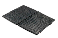 Garzini RFID Leather Magic Wallet Card Sleeves Croco - Black - 4
