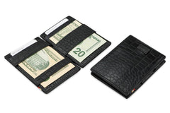 Garzini RFID Leather Magic Wallet Card Sleeves Croco - Black - 6