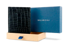 Garzini RFID Leather Magic Wallet Card Sleeves Croco - Black - 9