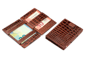 Garzini RFID Leather Magic Wallet Card Sleeves Croco-Brown