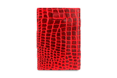 Garzini RFID Leather Magic Wallet Card Sleeves Croco - Red - 2