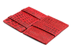 Garzini RFID Leather Magic Wallet Card Sleeves Croco - Red - 3
