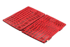 Garzini RFID Leather Magic Wallet Card Sleeves Croco - Red - 4