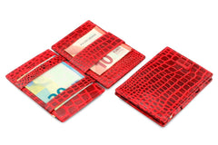 Garzini RFID Leather Magic Wallet Card Sleeves Croco - Red - 5