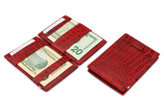 Garzini RFID Leather Magic Wallet Card Sleeves Croco - Red - 6
