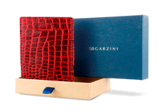 Garzini RFID Leather Magic Wallet Card Sleeves Croco - Red - 9