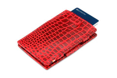 Garzini RFID Leather Magic Wallet Card Sleeves Croco - Red - 7