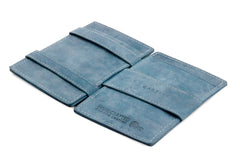 Garzini RFID Leather Magic Wallet Card Sleeves Vintage - Blue - 3
