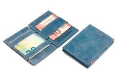 Garzini RFID Leather Magic Wallet Card Sleeves Vintage - Blue - 5