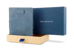 Garzini RFID Leather Magic Wallet Card Sleeves Vintage - Blue - 9
