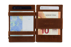 Garzini RFID Leather Magic Wallet ID Window - Brown
