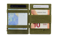 Garzini RFID Leather Magic Wallet ID Window - Green