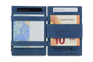 Garzini RFID Leather Magic Coin Wallet Plus Vintage-Blue