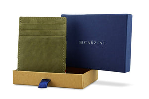 Garzini RFID Leather Magic Wallet ID Window Vintage-Green