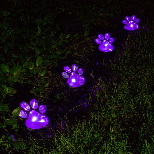 Paw Print Solar Ground Lights Set