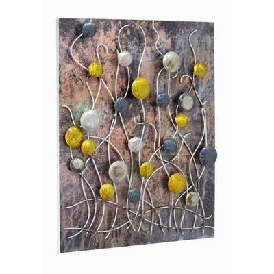 Vertical Wall Panel With 3D Metail Circles And Stems - Metallic Multi Color