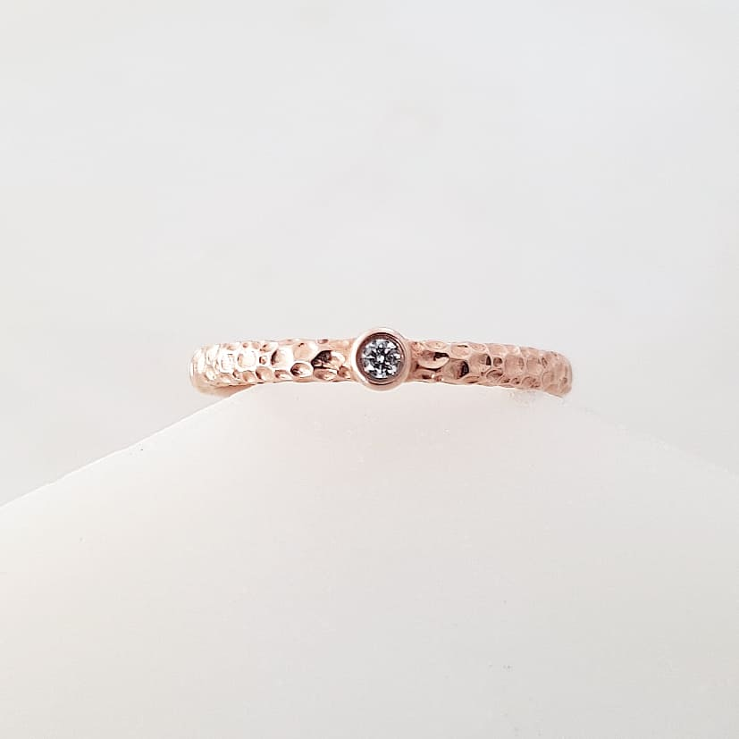 Hammered Solitaire Ring