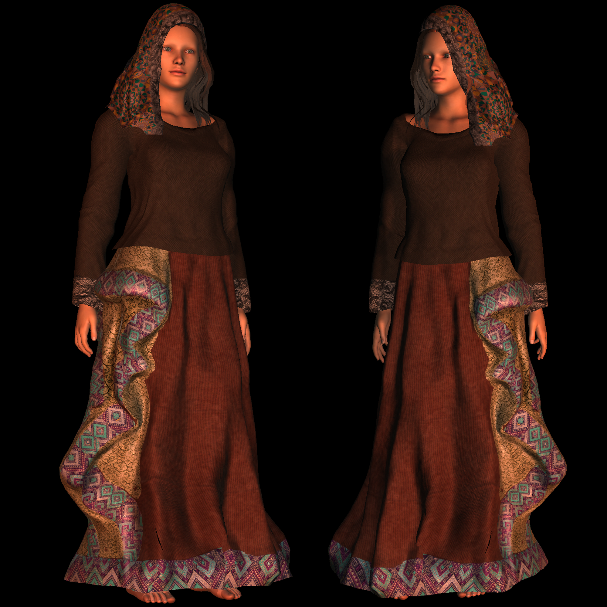 Gypsy Costume A for Unity UMA Jane