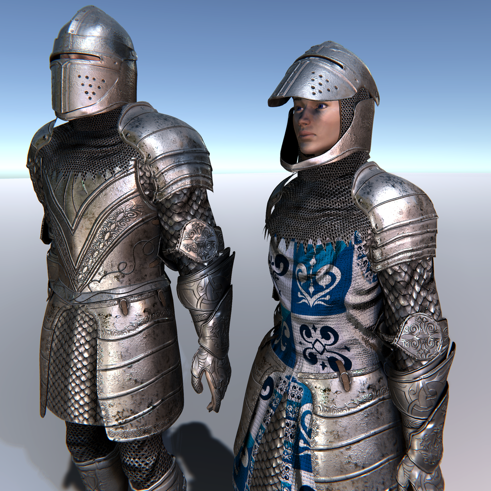 Male & Female Knight B for Unity UMA 2.5 and above