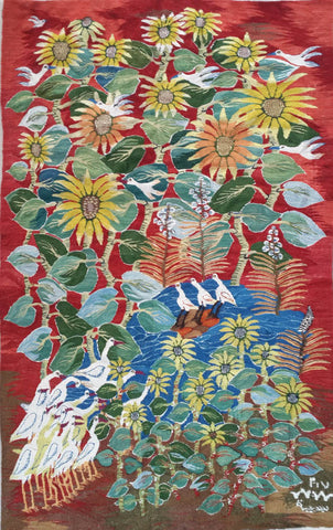 "WDG.9, Basima Mohamed, ""Ibis and Sunflowers"", 2017, Wool"