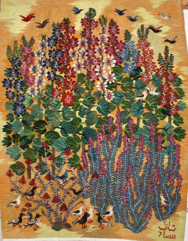 Souad Aziem, Bird, Plants and Hollyhocks, Wool Tapestry