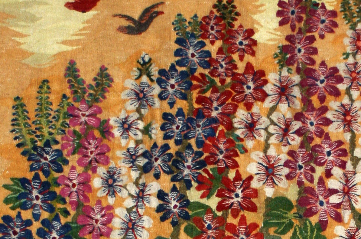 BG-09 - Souad Aziem, Bird, Plants and Hollyhocks, Wool Tapestry