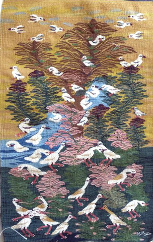 "Halawa Mohamed, ""The Garden in Autumn with Egrets,"" 2016, Cotton"