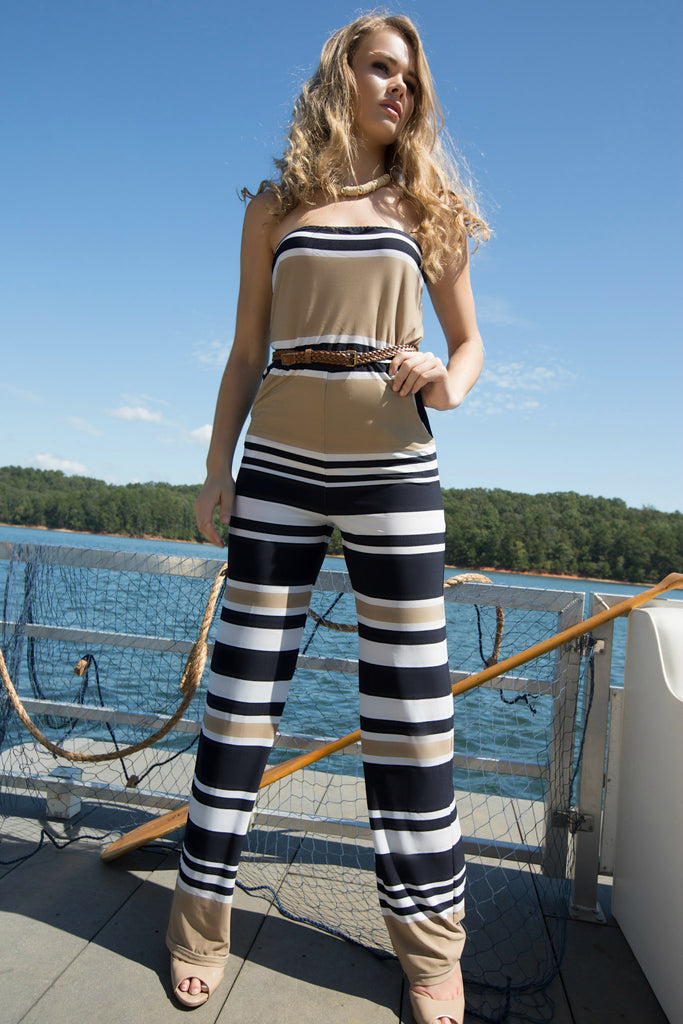 Womens striped tube top jumpsuit with belt. Spring fashion. Summer fashion. Spring break. Ennyluap.