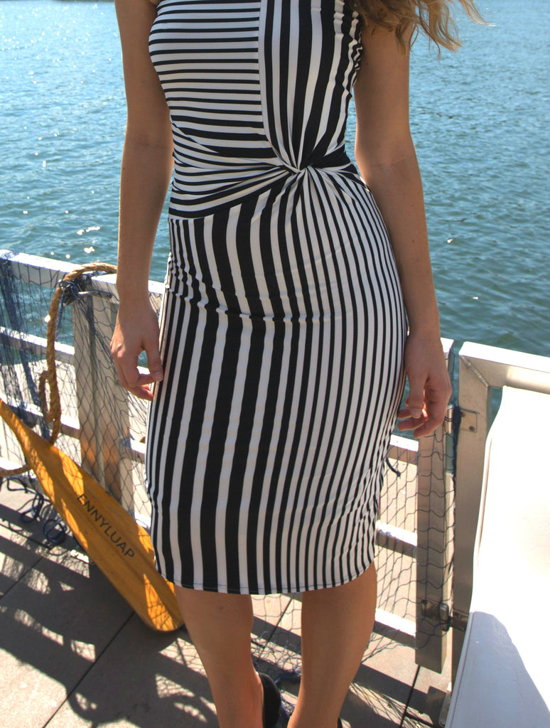 Womens fitted stripe dress with front knot. Ennyluap. Yacht Club.