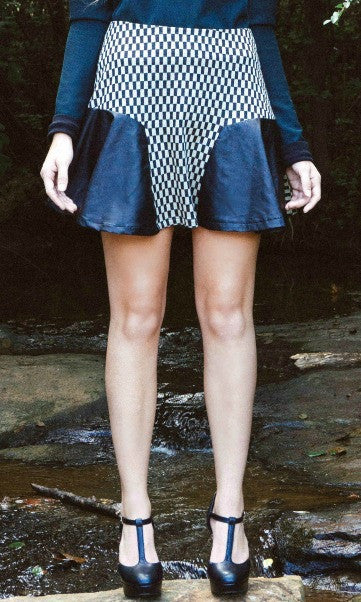 Women's Checker Vegan Leather Flare skirt - Shop Clothes For Women and Kids | Ennyluap