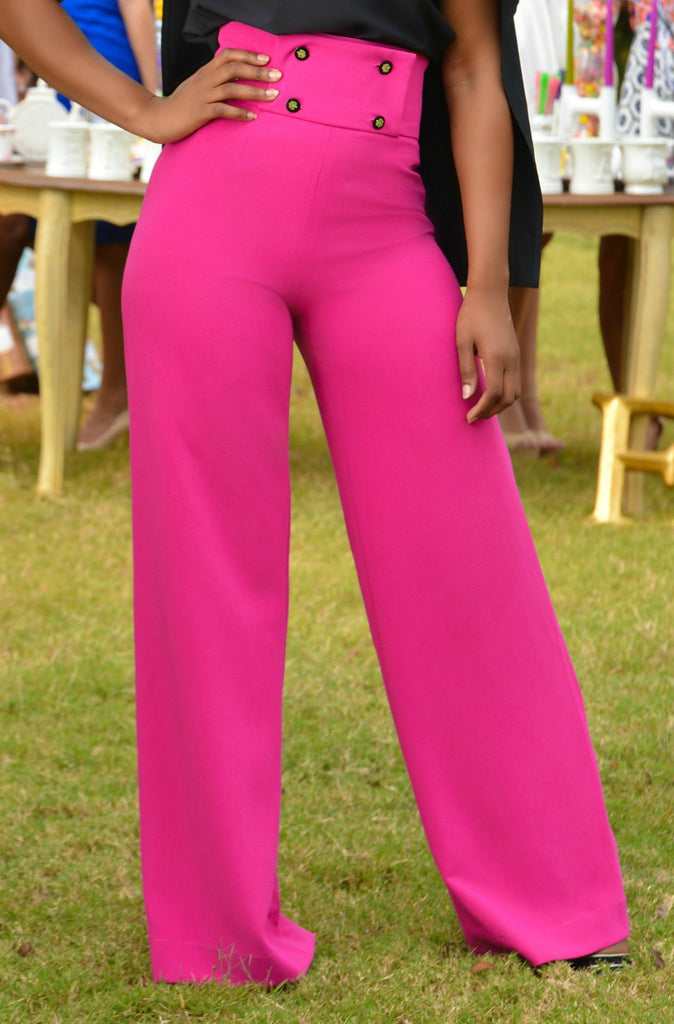 Hot Pink High Waisted Pants - Shop Clothes For Women and Kids | Ennyluap