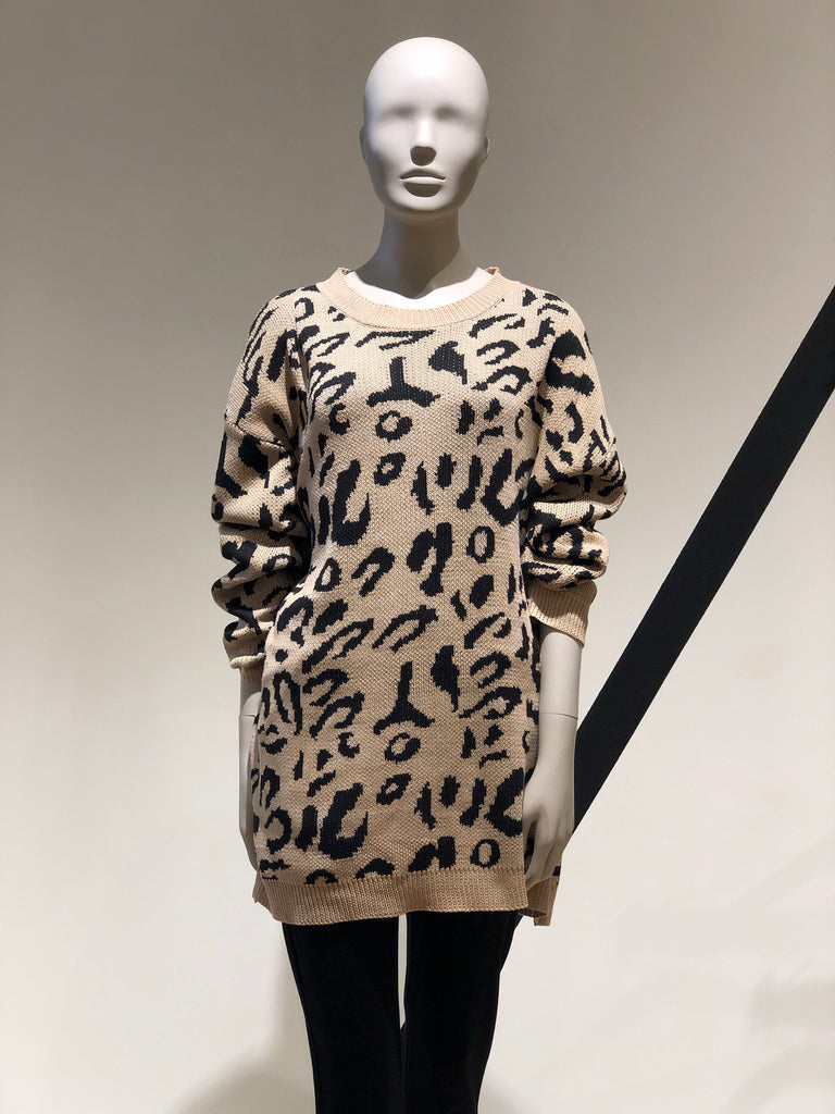 Digital Zoo Tunic Leopard Sweater
