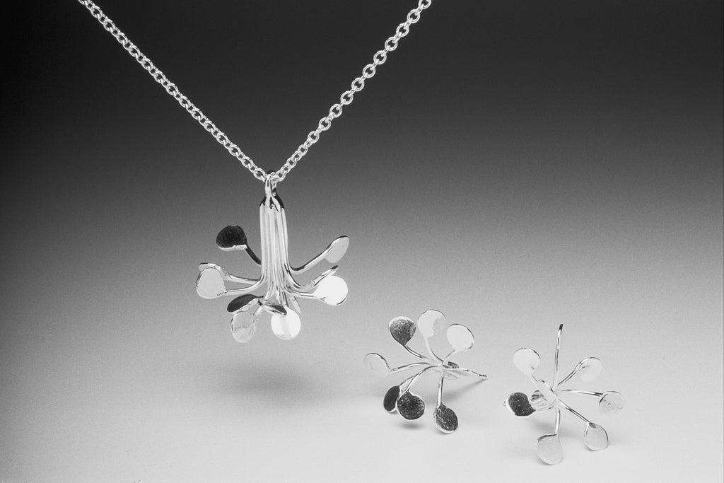 Flowerburst Fireworks Silver Pendant Necklace by Fiona DeMarco