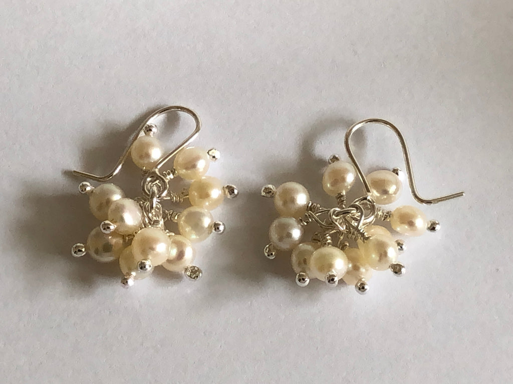 Pearl Cluster Silver Earrings by Fiona DeMarco