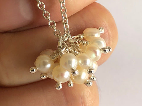 Pearl Cluster Silver Necklace by Fiona DeMarco Etsy Shop