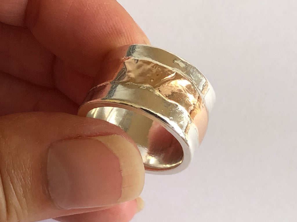 Silver Ring with Red Gold Stripe by Fiona DeMarco
