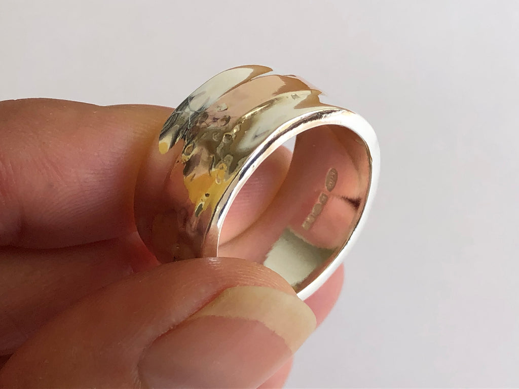 Silver Ring with 9ct Red Gold Stripe by Fiona DeMarco