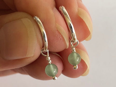 Aventurine Silver Hoop Earrings by Fiona DeMarco Etsy Shop