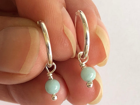 Amazonite Silver Hoop Earrings by Fiona DeMarco Etsy Shop