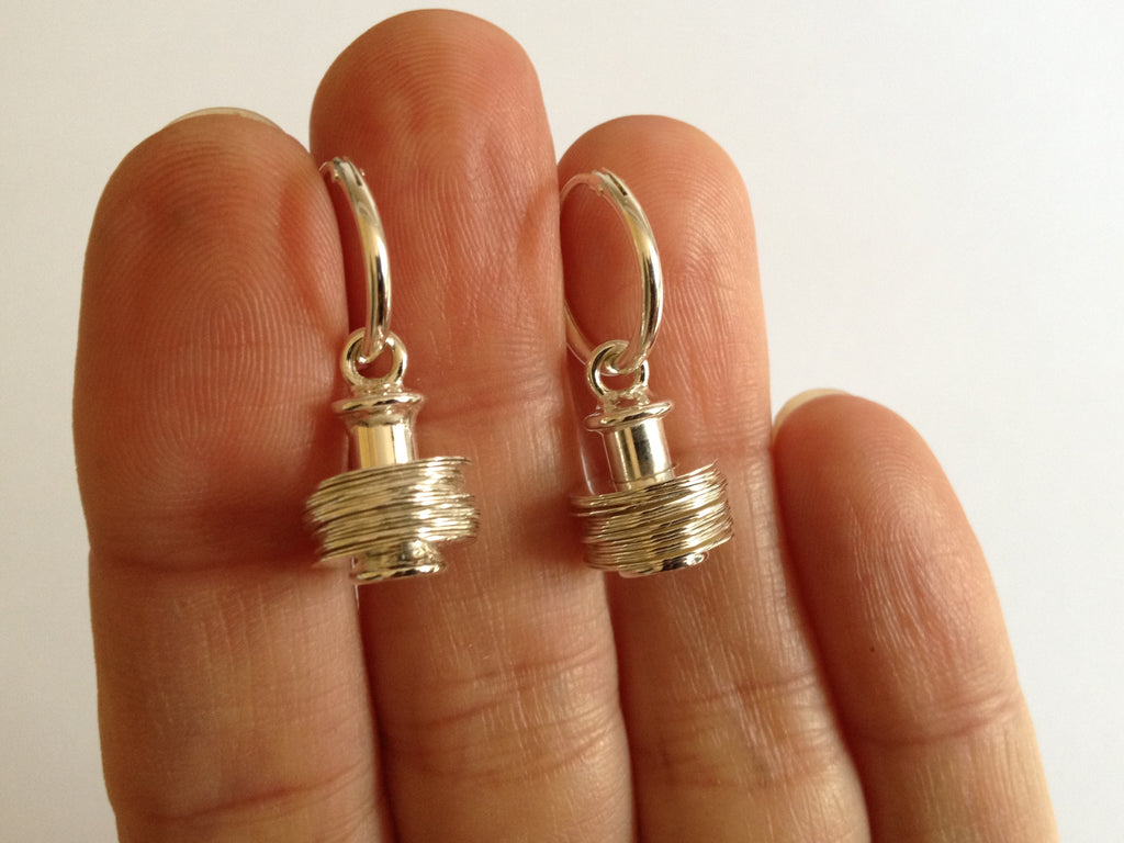 Dangling Earrings with Silver Hammered Discs on Rod