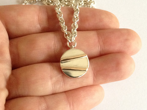 Round Silver Necklace with 9ct Red Gold Stripes