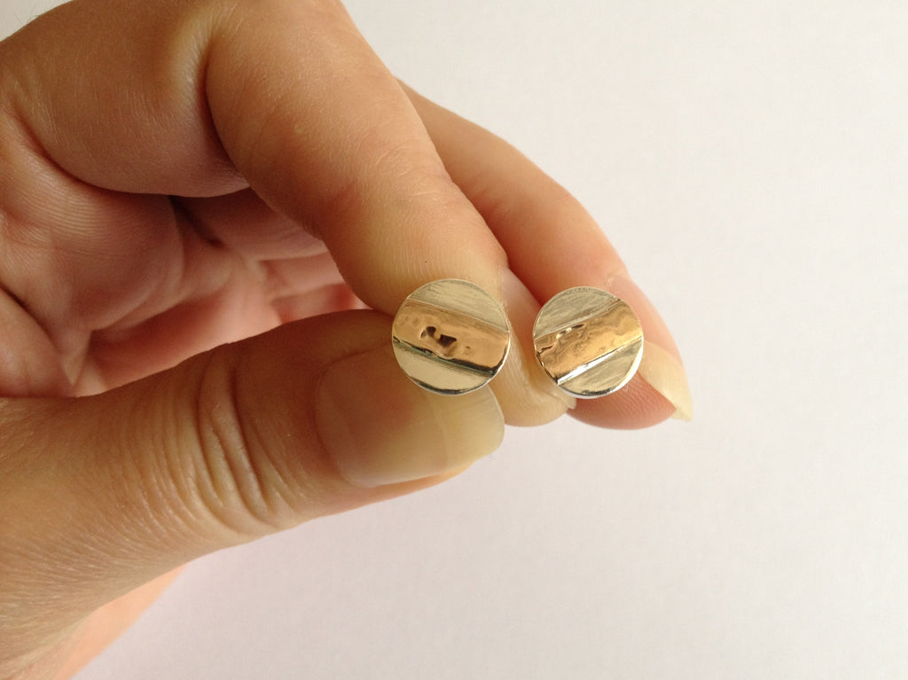 Round Silver Stud Earrings with 9ct Red Gold Large Stripe