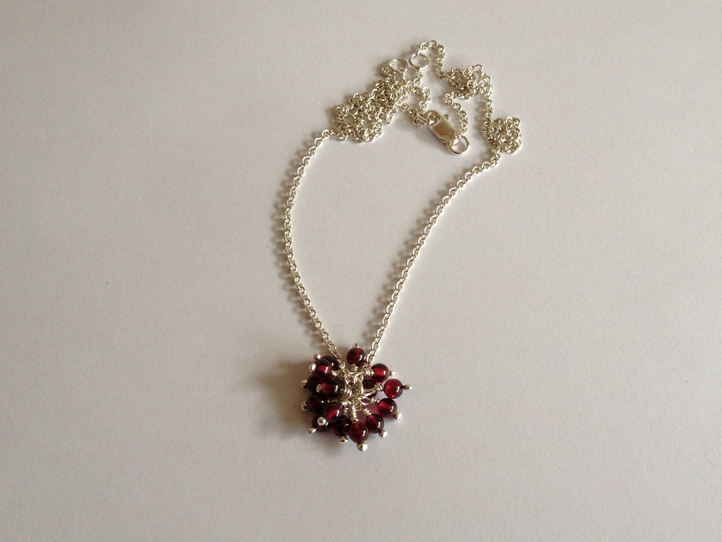 Garnet Cluster Sterling Silver Pendant Necklace by Fiona DeMarco