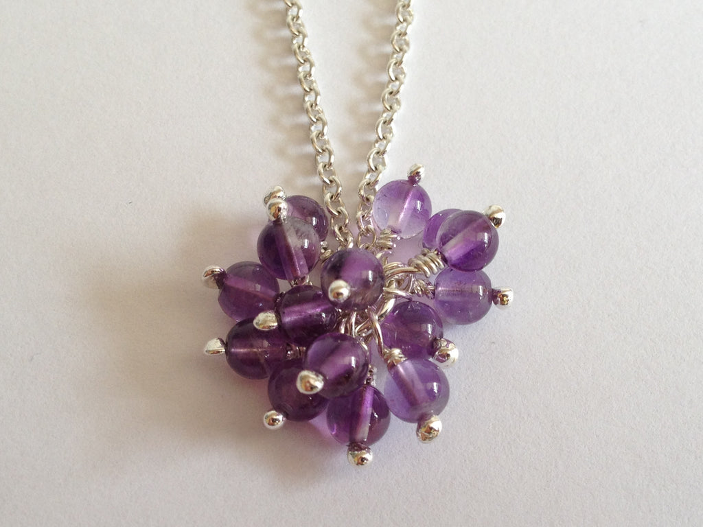 Amethyst Cluster Sterling Silver Necklace by Fiona DeMarco
