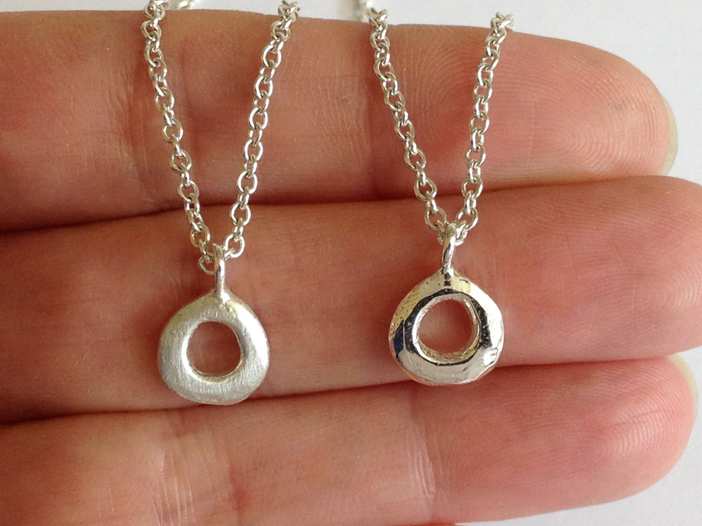 Small Silver Circle Necklace by Fiona DeMarco