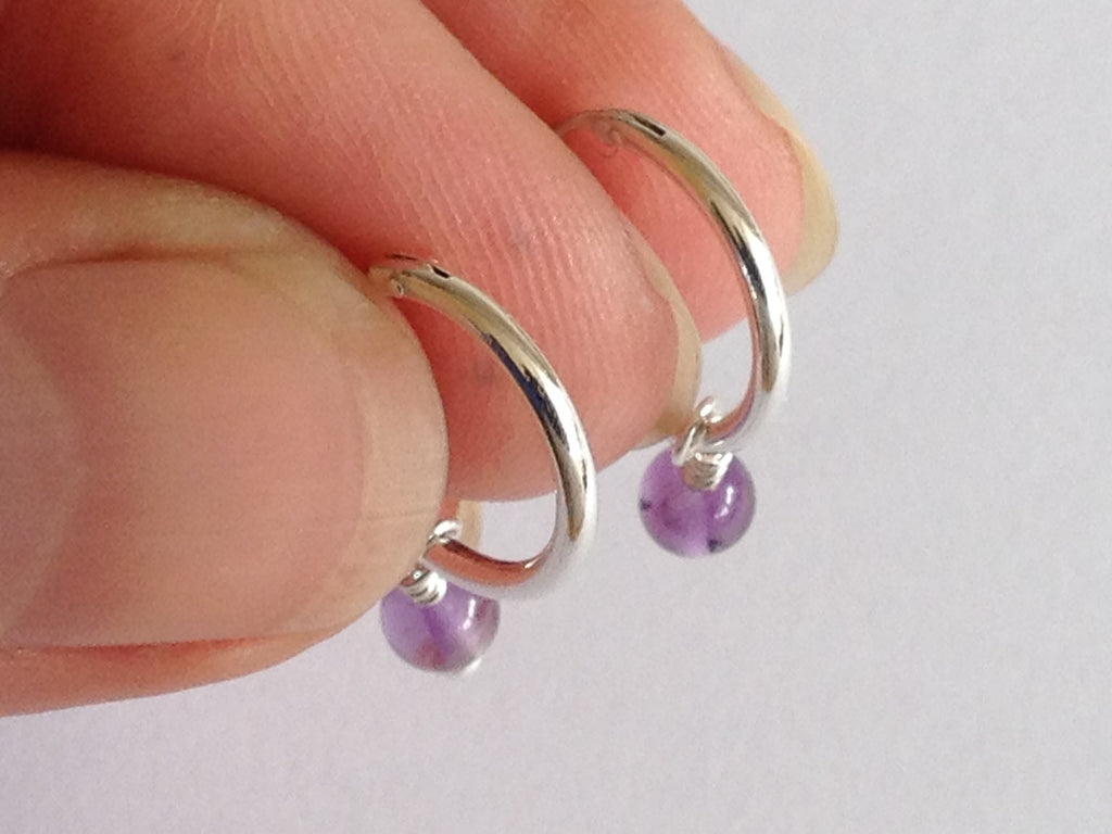 Amethyst Silver Hoop Earrings by Fiona DeMarco Etsy Shop